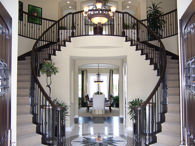 Curved Stair With Baskets