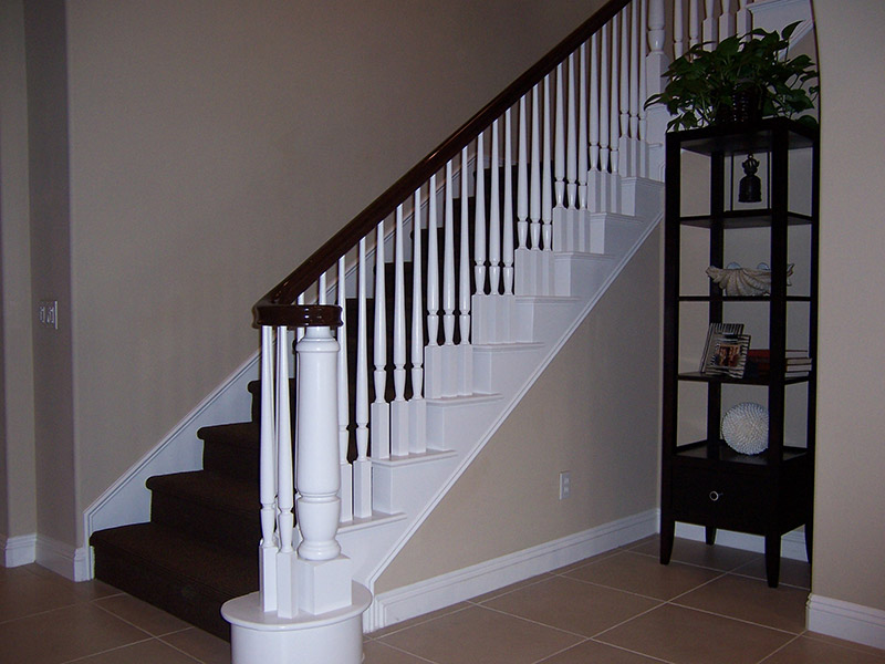 Stained Handrail With Custom Turned Post