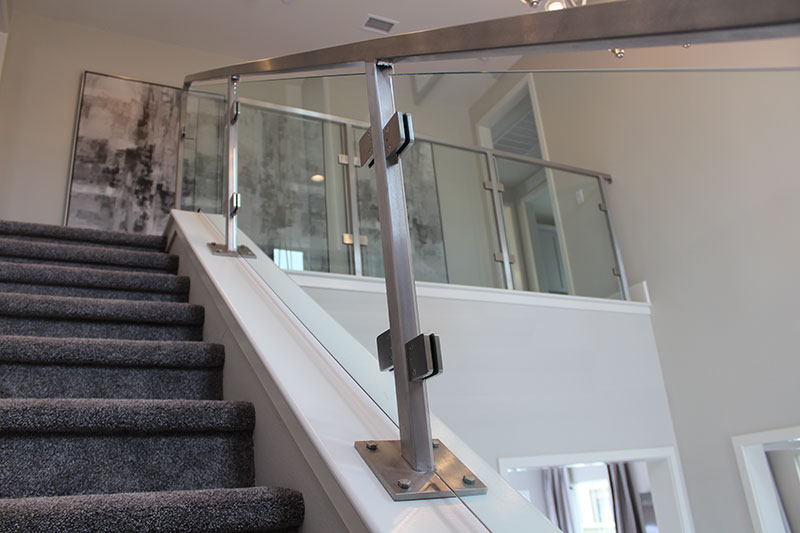 Full glass panels with stainless steel rail