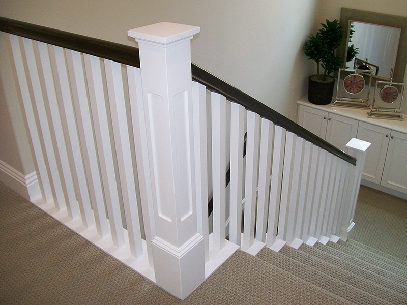 Stained Handrail And Square Balusters