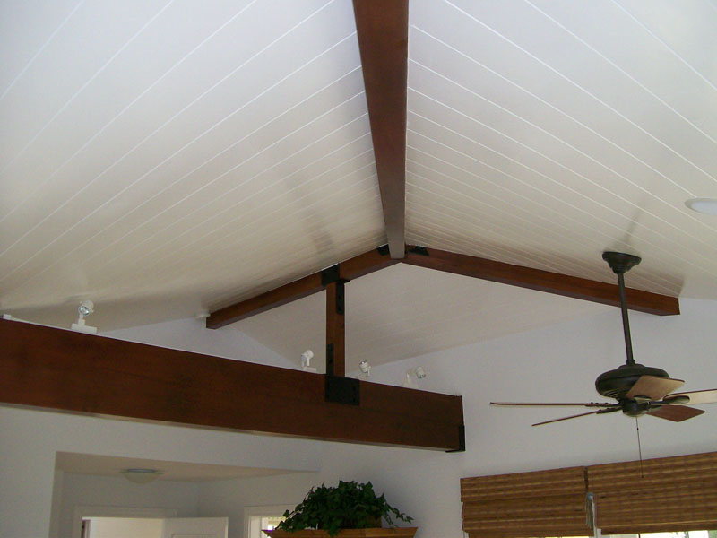 Custom Beams with Tongue and Groove Ceilings