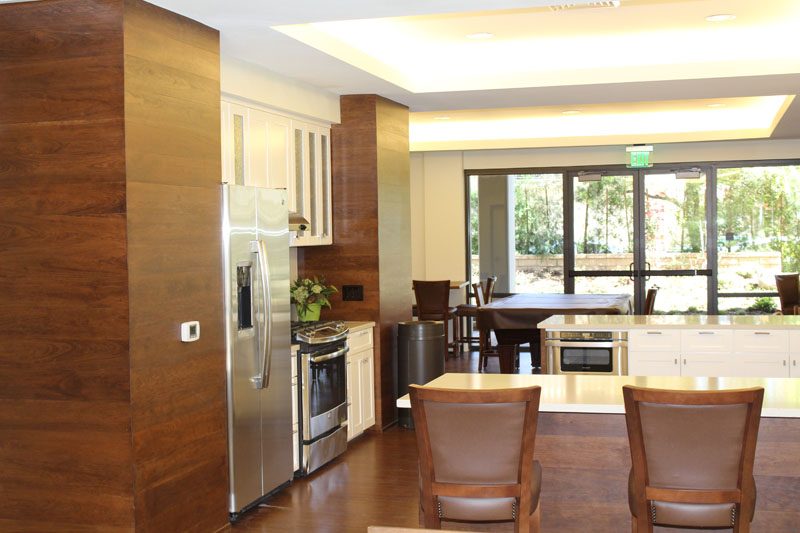 Kitchen with Cherry Wall Treatment